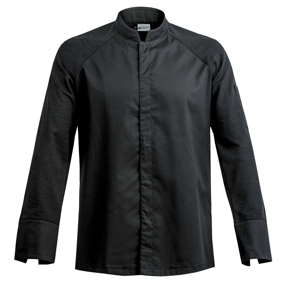 FORZA men's high quality hybrid chef jacket with dry-up materials, black long sleeve