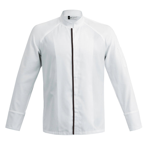 FORZA men's high quality hybrid chef jacket with dry-up materials, white long sleeve with CYOU customization