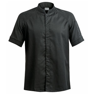 FORZA men's high quality hybrid chef jacket with dry-up materials, black short sleeve