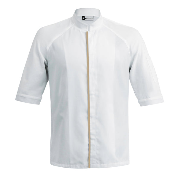 FORZA men's high quality hybrid chef jacket with dry-up materials, white short sleeve with CYOU customization