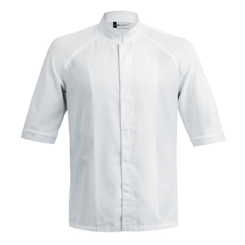 FORZA men's high quality hybrid chef jacket with dry-up materials, white short sleeve