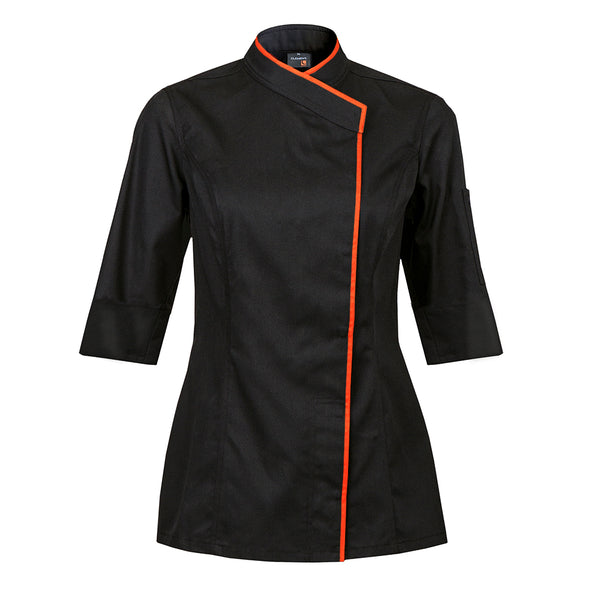 INTUITION women's black short sleeve chef coat with CYOU customization