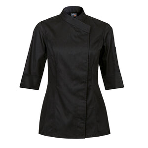INTUITION women's black fitted short sleeve chef coat