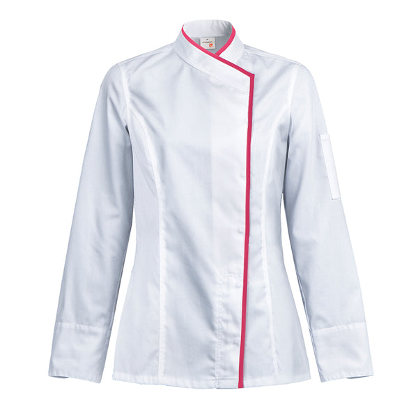 INTUITION women's white long sleeve chef coat with CYOU customization