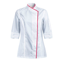 INTUITION women's white short sleeve chef coat with CYOU customization
