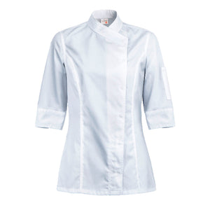 INTUITION women's white short sleeve chef coat