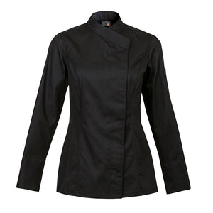 INTUITION women's fitted black long sleeve chef coat