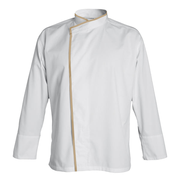 MADISON double breasted kimono collar chef jacket for men, long sleeve white with CYOU customization