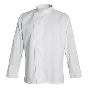 MADISON double breasted kimono collar chef jacket for men, long sleeve white
