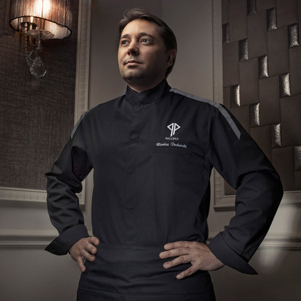 MANTOVA long sleeve black center snap executive chef jacket with CYOU customization
