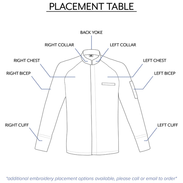 Women's center zip chef jacket embroidery options by Clement Design
