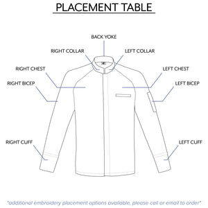 men's embroidery center snap placement table from clement design