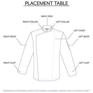 men's premium chef jacket embroidery placement table by Clement Design