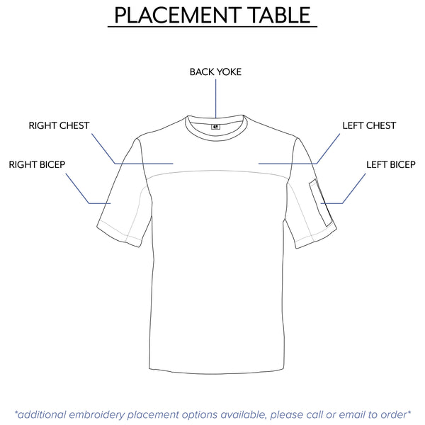 chef shirt embroidery placement options