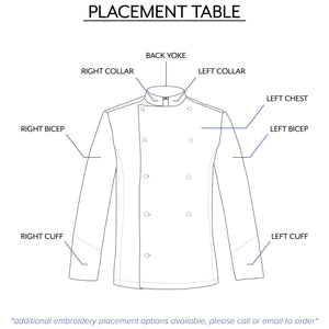 men's embroidery placement table from clement design