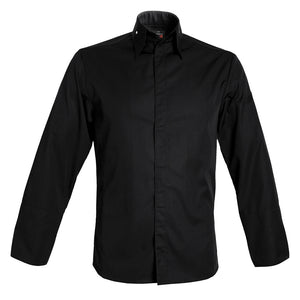 MILANO men's collared center snap premium chef jacket, long sleeve black