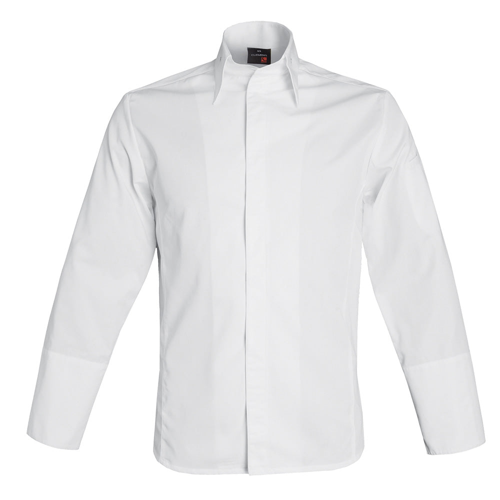 MILANO men's collared center snap premium chef jacket, long sleeve white