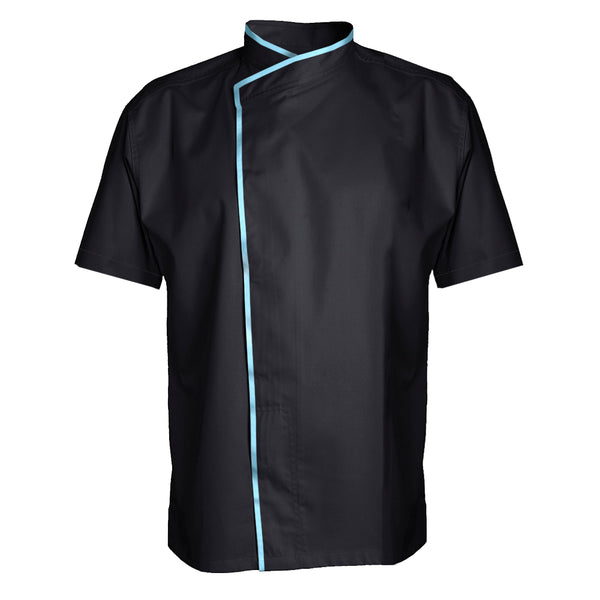 MURANO short sleeve black chef jacket polycotton blend with CYOU customization