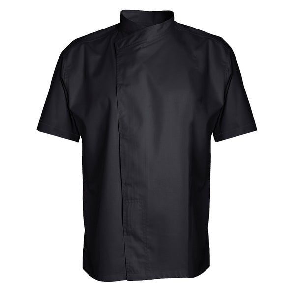 MURANO short sleeve black chef coat polycotton blend