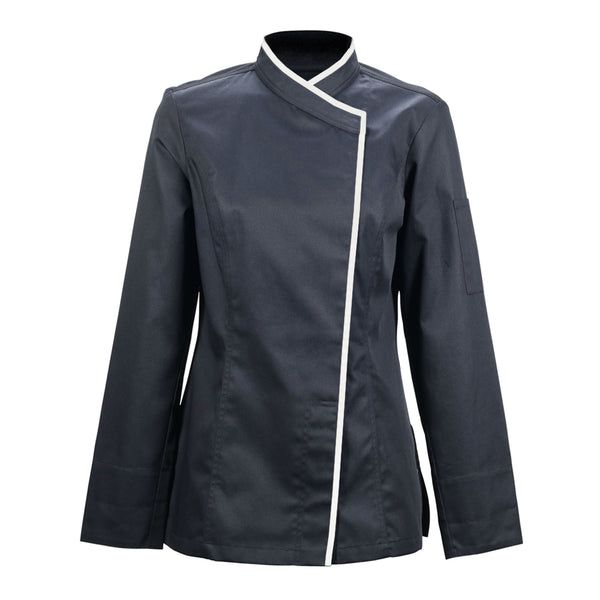 SAPORE black long sleeve fitted hybrid chef jacket for women with CYOU customization