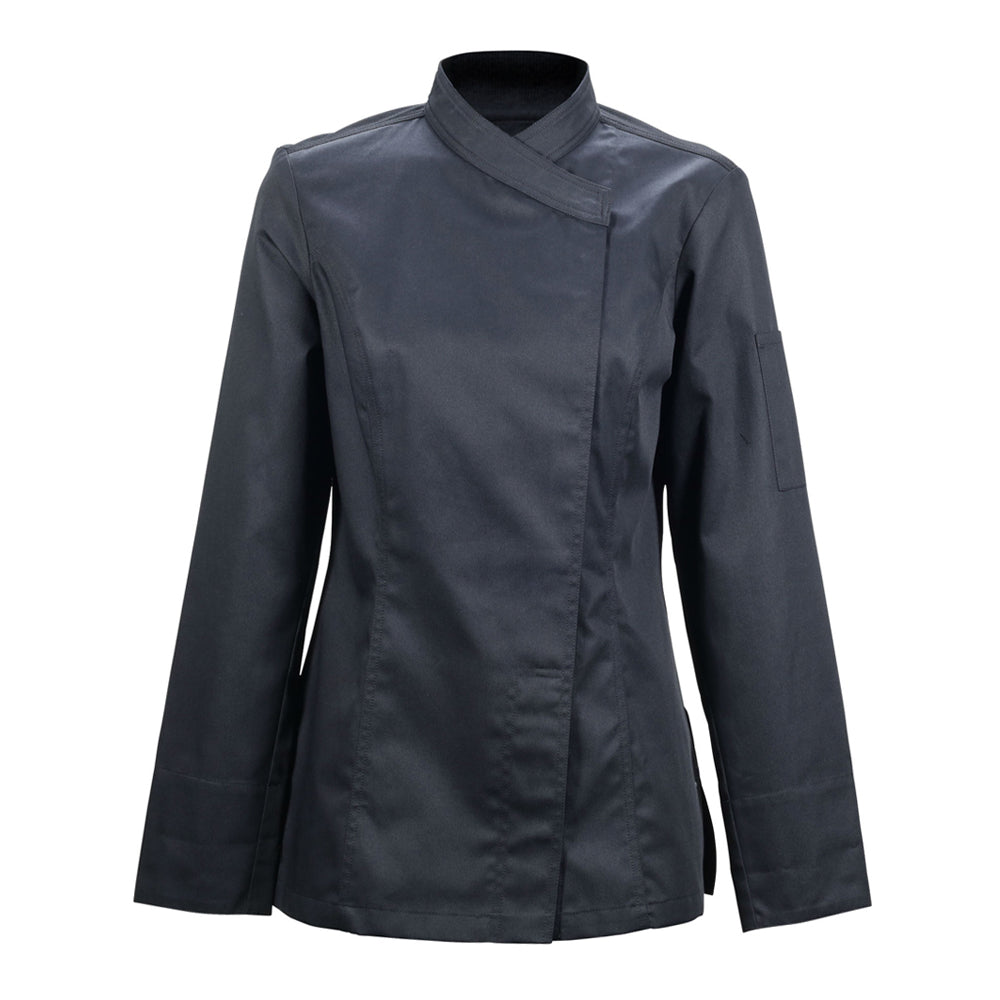 SAPORE black long sleeve fitted hybrid chef jacket for women