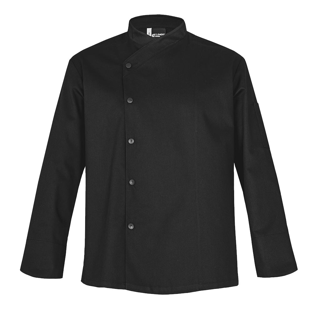 SFAX black unisex chef jacket long sleeve snap buttons