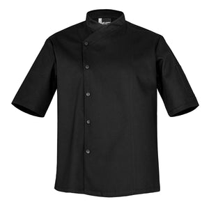 SFAX black unisex chef jacket short sleeve snap buttons