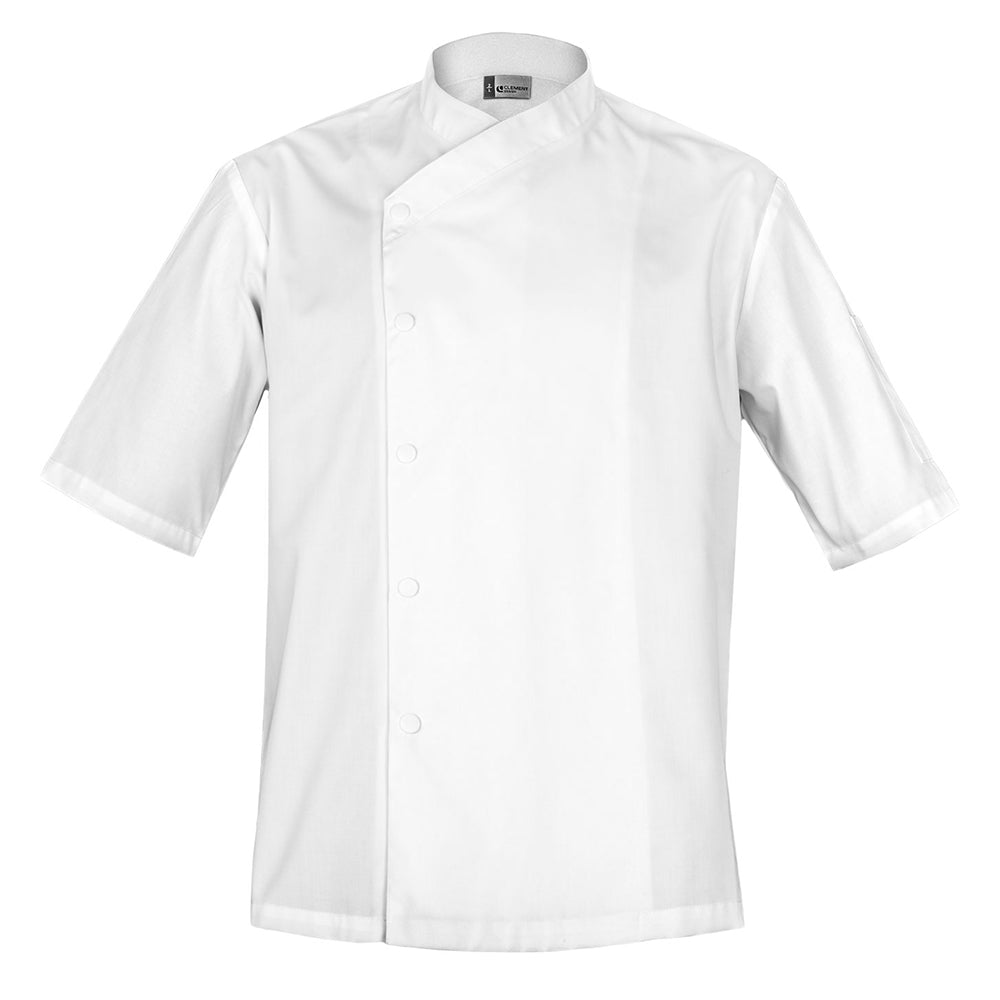 SFAX white unisex chef jacket long sleeve snap buttons