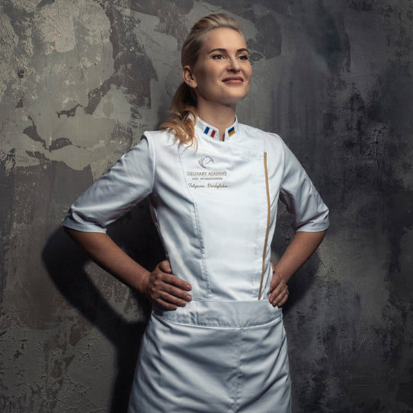 modern fitted chef jacket for women