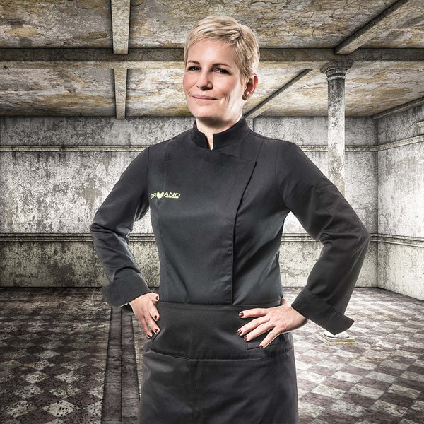 black fitted women's chef jacket