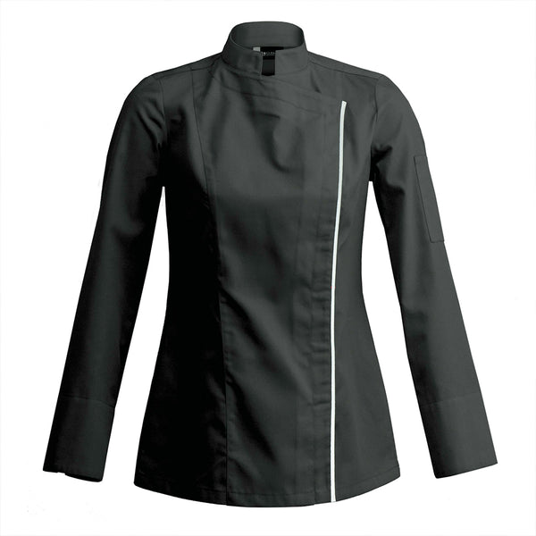 SIENNE black long sleeve women's chef jacket, fitted modern styles