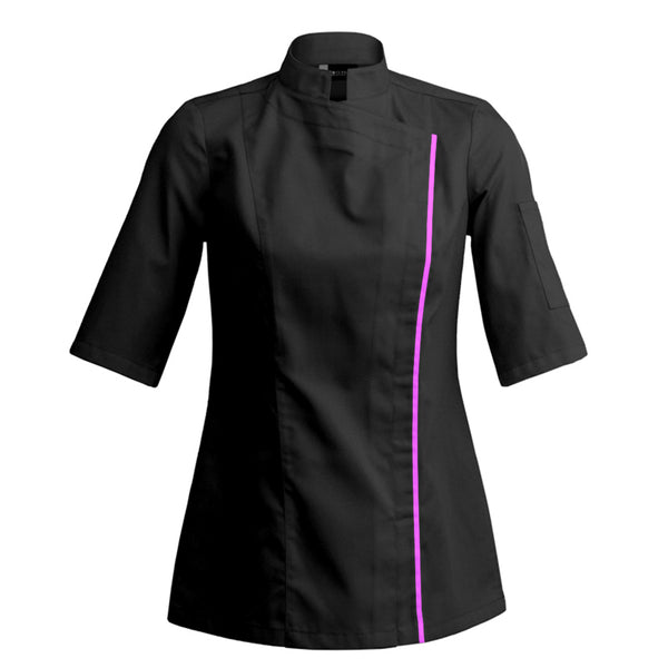 SIENNE short sleeve fitted women's chef jacket