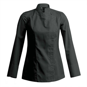 SIENNE modern fitted women's chef jacket long sleeve black