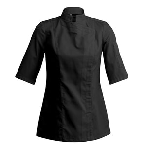 SIENNE modern fitted women's chef jacket short sleeve black