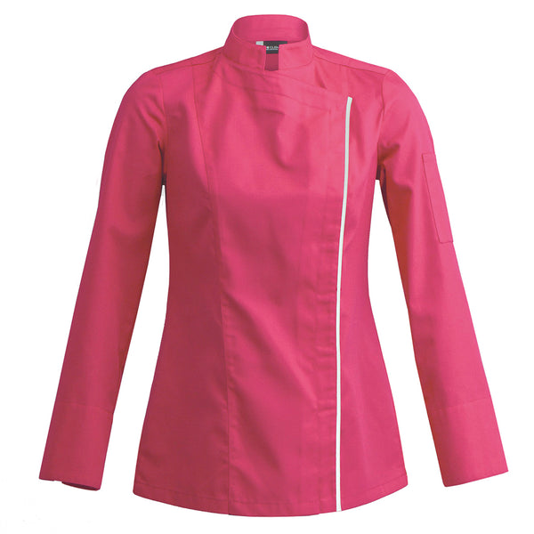 pink fitted women's chef jacket