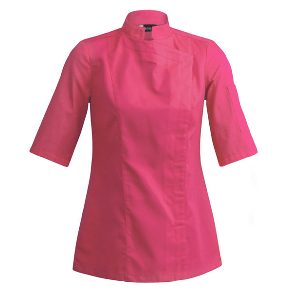 SIENNE short sleeve fuschia fitted women's chef jacket