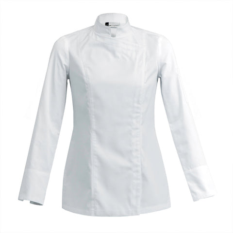 SIENNE modern fitted women's chef jacket long sleeve white