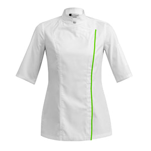 SIENNE fitted white short sleeve chef jacket