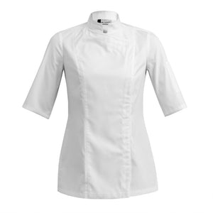 SIENNE white fitted short sleeve chef coat