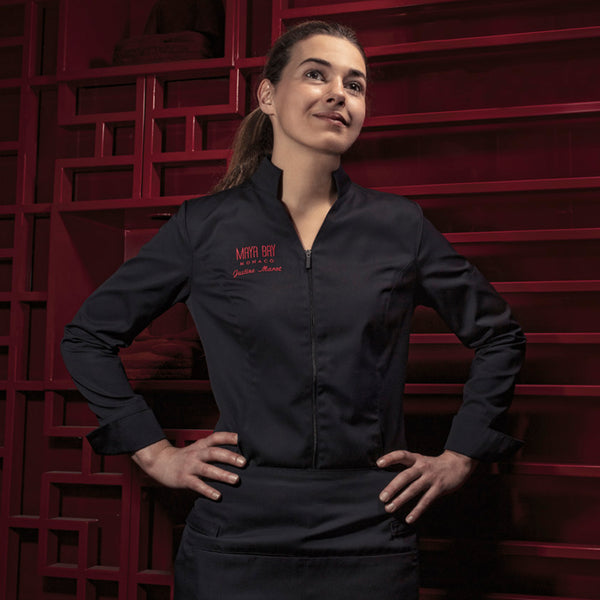 women's center zip chef jacket