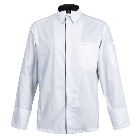 SQUADRA white long sleeve men's chef jacket hidden center snap buttons