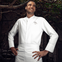 men's long sleeve center snap chef jacket