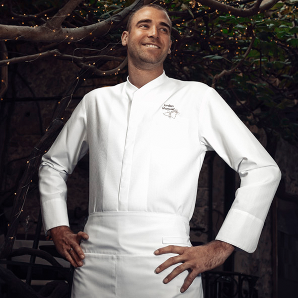 long sleeve center snap TIME chef jacket with honeycomb material