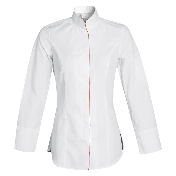 VALENCIA premium women's fitted white long sleeve chef jacket with CYOU customization