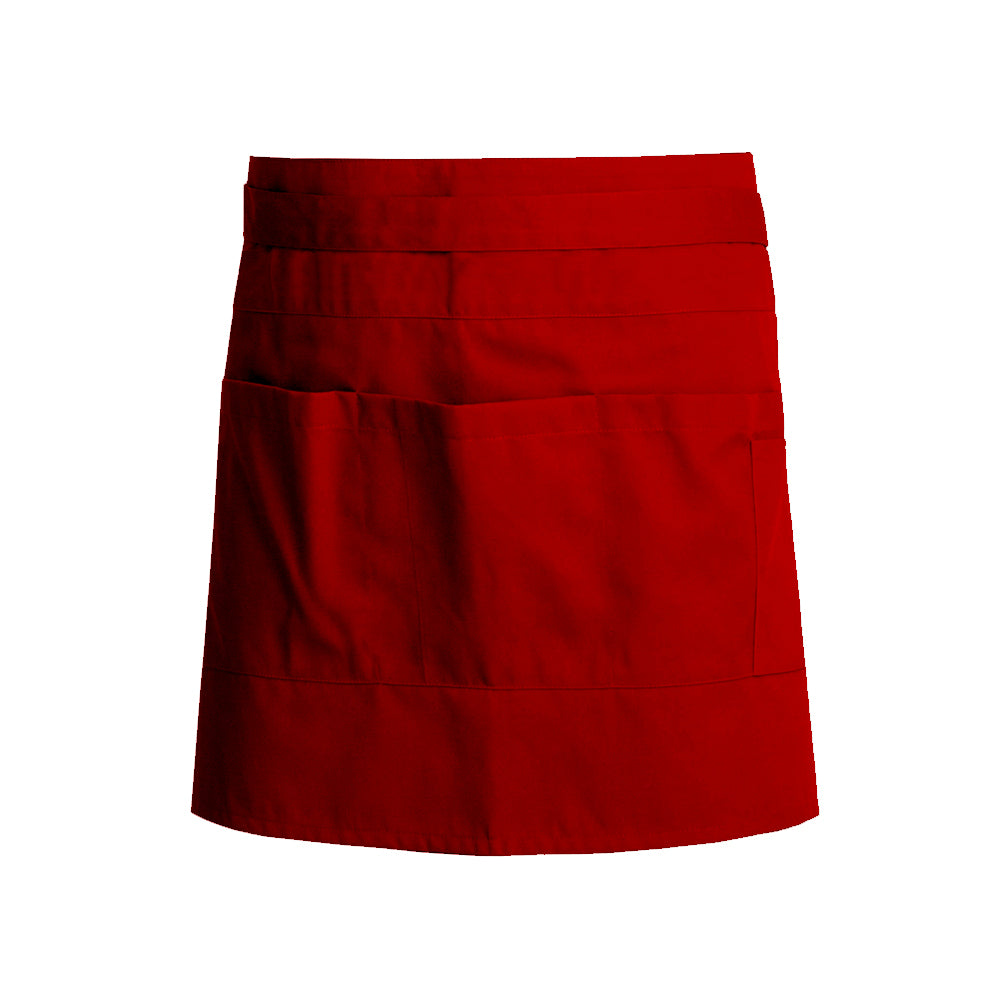 red unisex waist apron for waiters and waitresses