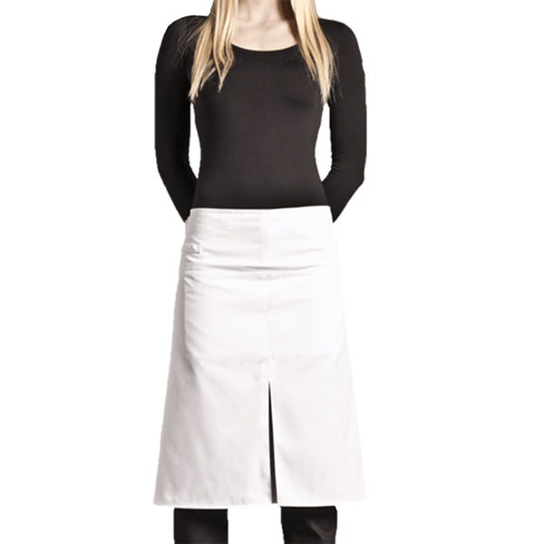 white polycotton chef apron with middle slit