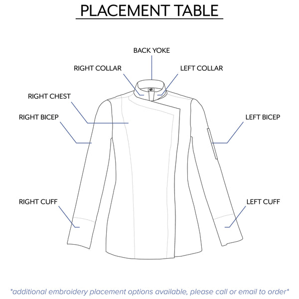 women's chef jacket embroidery placement table