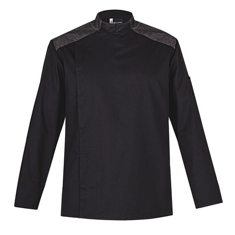 YALE black modern style men's chef jacket