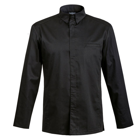 YAMATA black long sleeve men's chef jacket with shirt collar