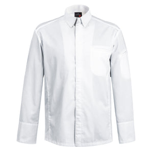 YAMATA white long sleeve men's chef jacket with shirt collar
